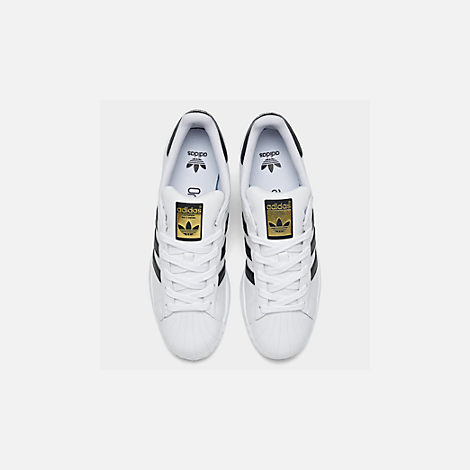 Back view of Big Kids' adidas Superstar Casual Shoes in White/Black/White