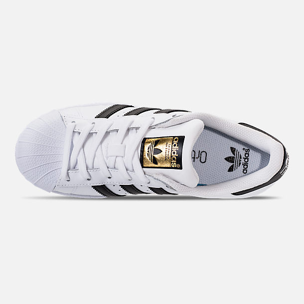 Top view of Big Kids' adidas Superstar Casual Shoes in White/Black/White