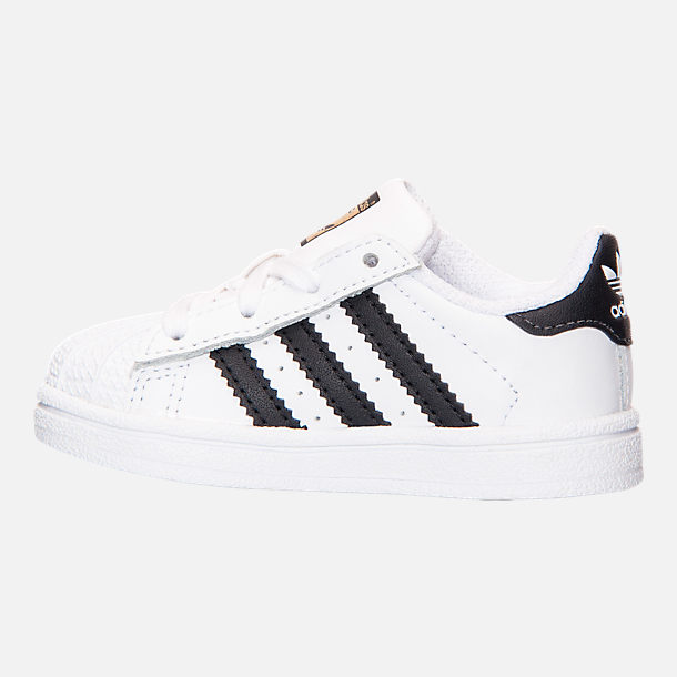 Left view of Kids' Toddler adidas Superstar Casual Shoes in White/Black