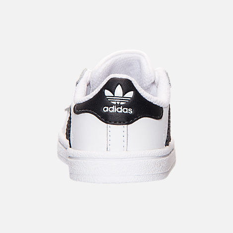Back view of Kids' Toddler adidas Superstar Casual Shoes in White/Black