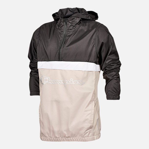 Front view of Kids' Champion Windbreaker Jacket in Black/Cream