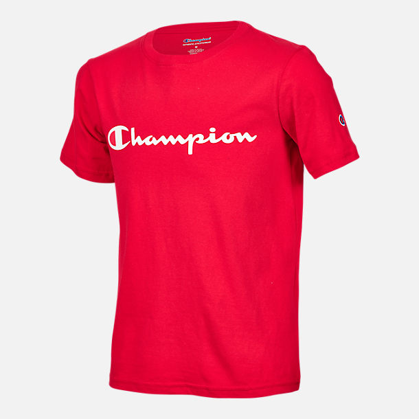Front view of Kids' Champion Heritage T-Shirt in Scarlet Red