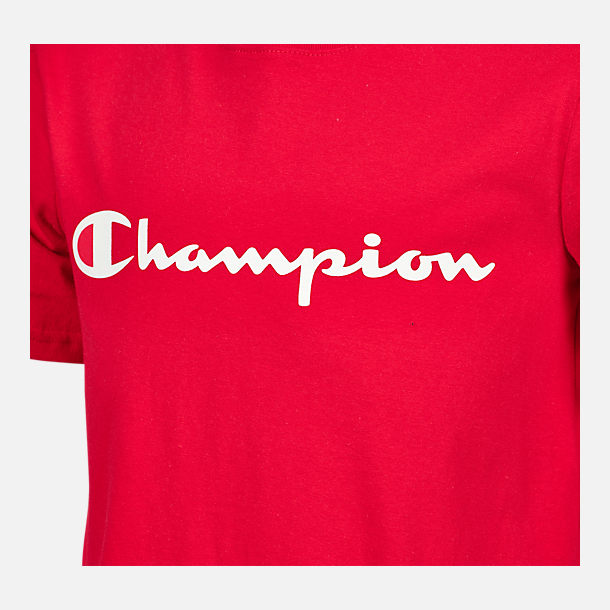 Back view of Kids' Champion Heritage T-Shirt in Scarlet Red