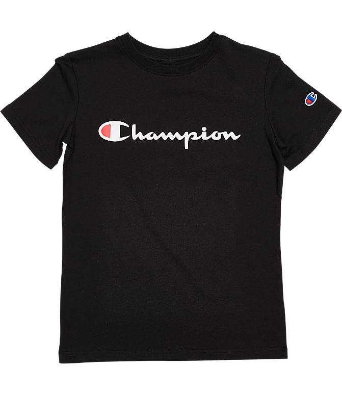 Front view of Kids' Champion Heritage T-Shirt in Black