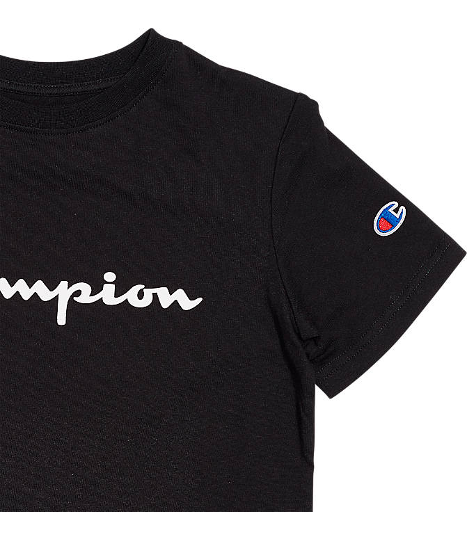 Back view of Kids' Champion Heritage T-Shirt in Black