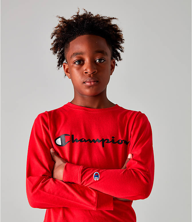 Detail 1 view of Kids' Champion Heritage Logo Long Sleeve T-Shirt in Red