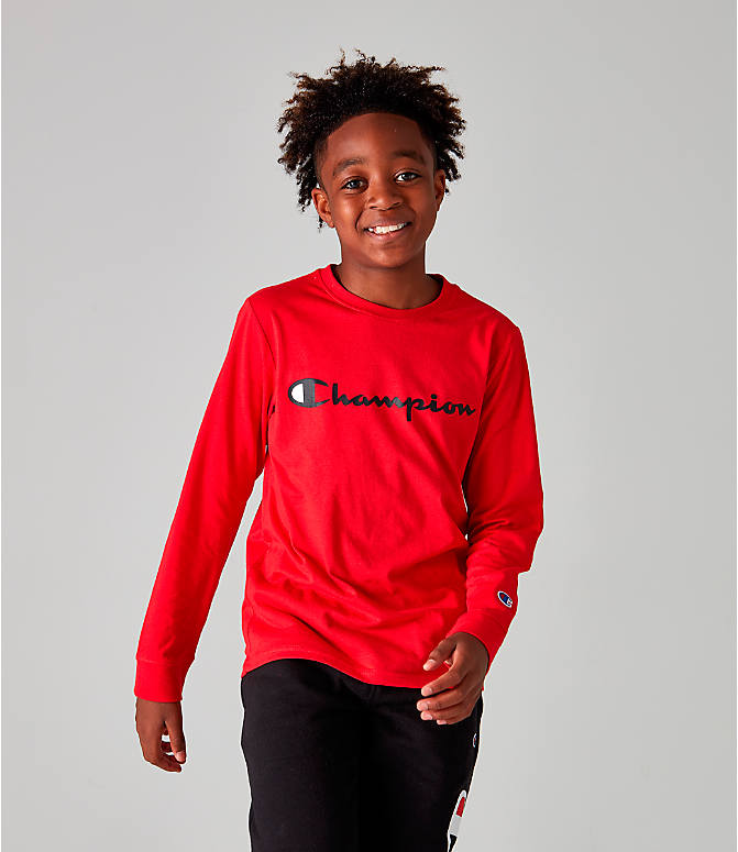 Front view of Kids' Champion Heritage Logo Long Sleeve T-Shirt in Red