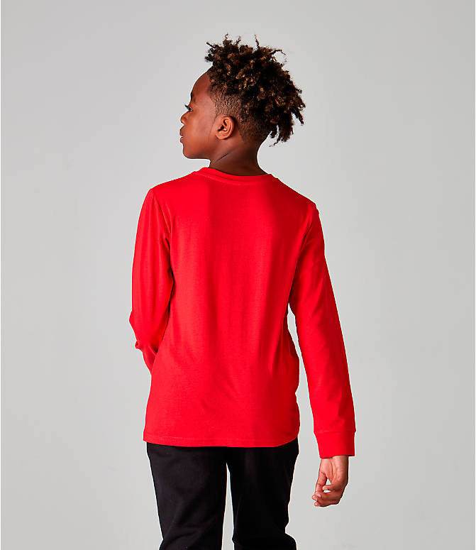 Back Left view of Kids' Champion Heritage Logo Long Sleeve T-Shirt in Red