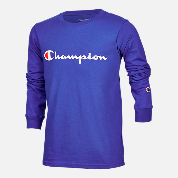 Front view of Kids' Champion Heritage Logo Long Sleeve T-Shirt in Surf the Web Blue