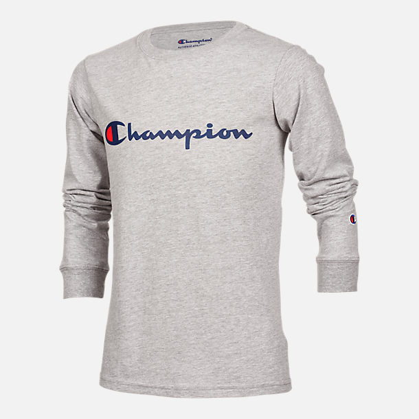 Front view of Kids' Champion Heritage Logo Long Sleeve T-Shirt in Oxford Heather