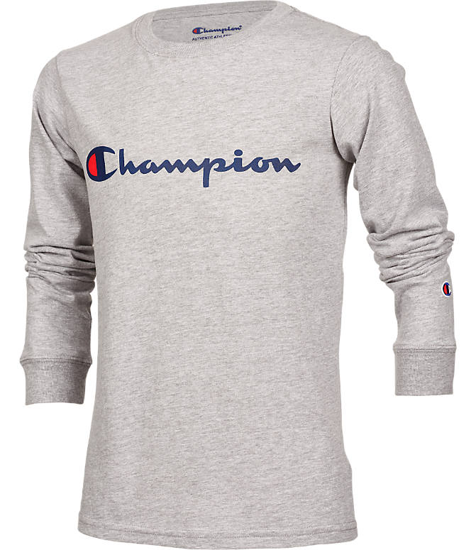 e935eba3 Front view of Kids' Champion Heritage Logo Long Sleeve T-Shirt in Oxford  Heather