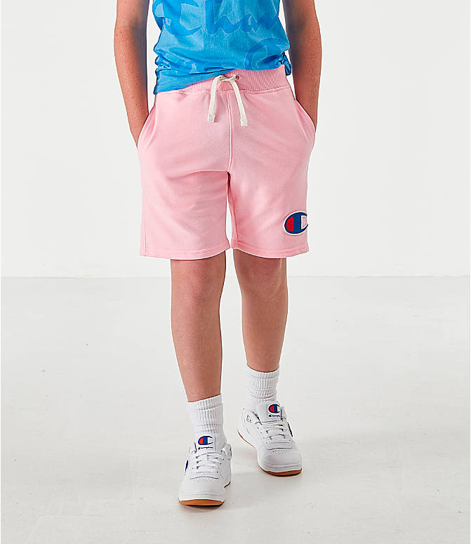 Front view of Kids' Champion Terry Fleece Shorts in Pink Candy