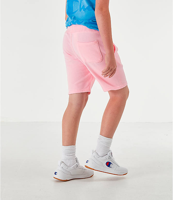 Back Left view of Kids' Champion Terry Fleece Shorts in Pink Candy