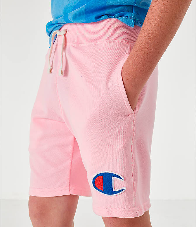 Back Right view of Kids' Champion Terry Fleece Shorts in Pink Candy