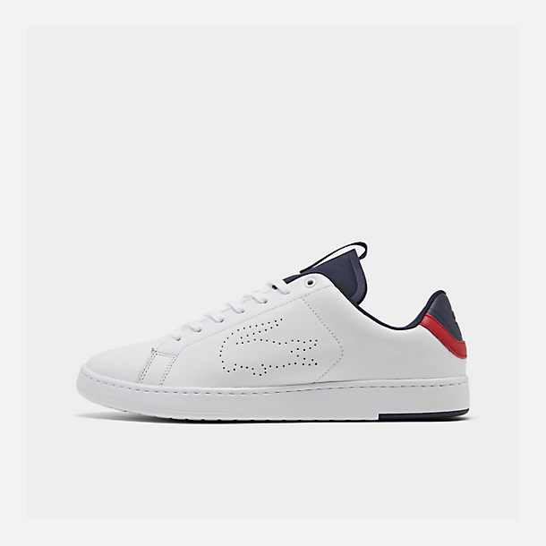 23cdf21a8cc9 Right view of Men s Lacoste Carnaby EVO Lightweight Casual Shoes in White  Red Navy