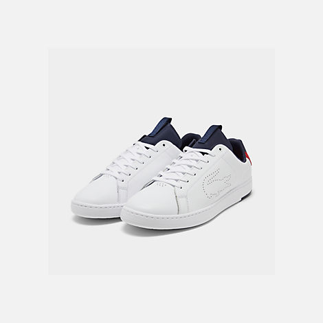 b0fead446 Three Quarter view of Men s Lacoste Carnaby EVO Lightweight Casual Shoes in  White Red