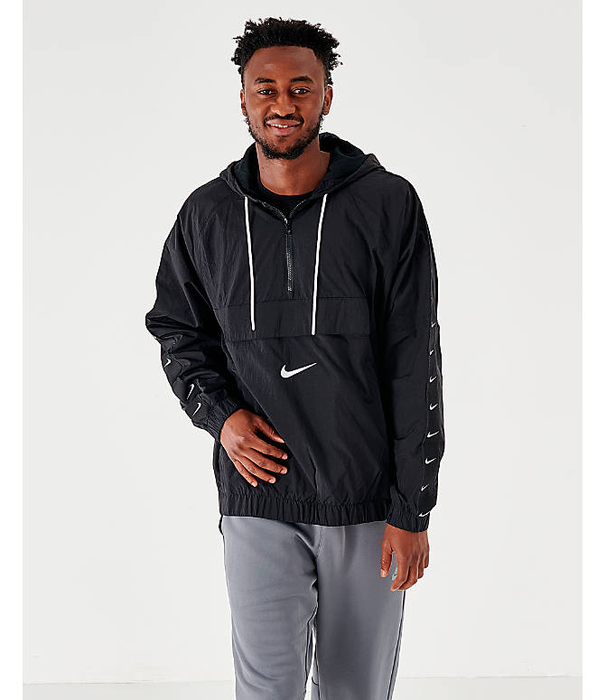 Front view of Men's Nike Sportswear Swoosh Woven Jacket in Black