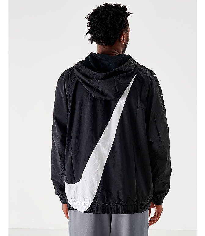 Back Left view of Men's Nike Sportswear Swoosh Woven Jacket in Black