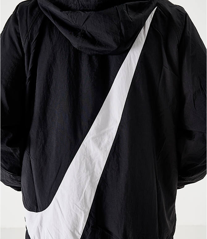 Back Right view of Men's Nike Sportswear Swoosh Woven Jacket in Black