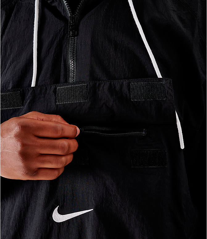 On Model 5 view of Men's Nike Sportswear Swoosh Woven Jacket in Black