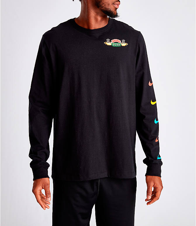 Front view of Men's Nike Kyrie Friends Long-Sleeve Basketball T-Shirt in Black