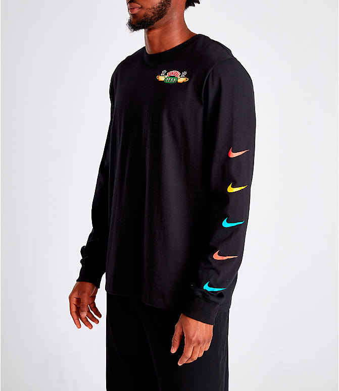 Front Three Quarter view of Men's Nike Kyrie Friends Long-Sleeve Basketball T-Shirt in Black