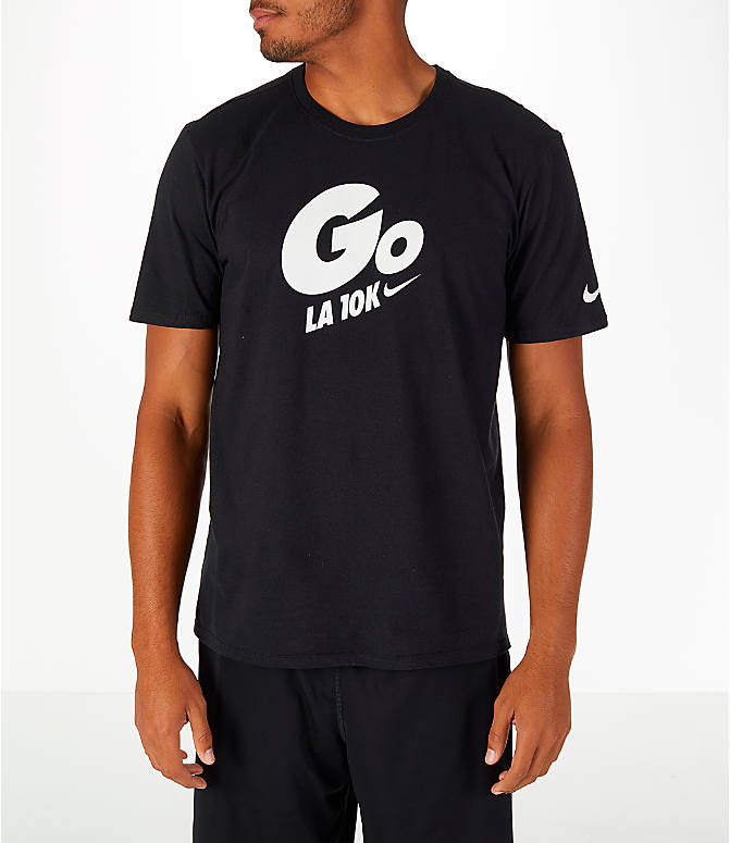 Front view of Men's Nike GO LA 10k Exclusive Short-Sleeve Crew T-Shirt in Black