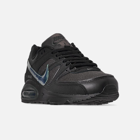 Three Quarter view of Men's Nike Air Max Command Casual Shoes in Black/Black/Anthracite/Space Purple