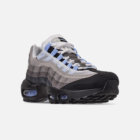 Three Quarter view of Men's Nike Air Max 95 Casual Shoes in Black/Aluminum/Anthracite