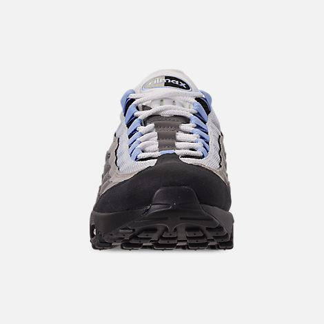 Front view of Men's Nike Air Max 95 Casual Shoes in Black/Aluminum/Anthracite