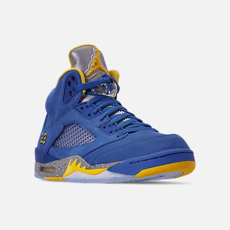 on sale 1c837 a5083 Three Quarter view of Men s Air Jordan Retro 5 Laney JSP Basketball Shoes  in Varsity Royal