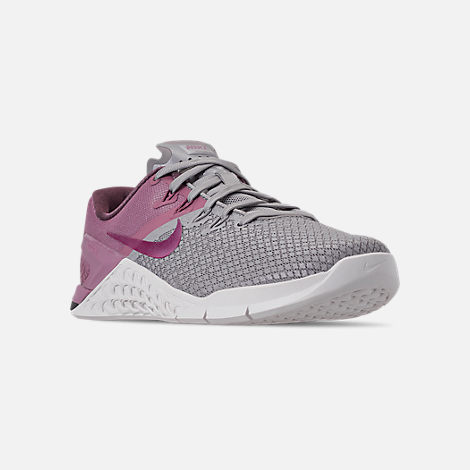 Three Quarter view of Women's Nike Metcon 4 XD Training Shoes in Atmosphere Grey/True Berry/Plum Dust