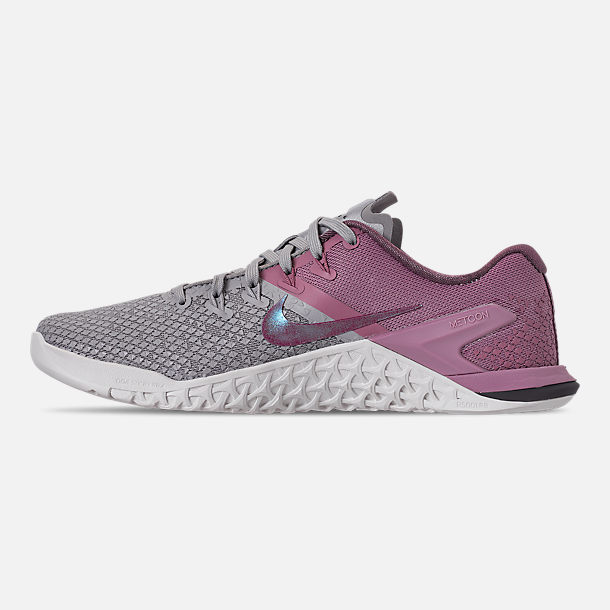 Left view of Women's Nike Metcon 4 XD Training Shoes in Atmosphere Grey/True Berry/Plum Dust