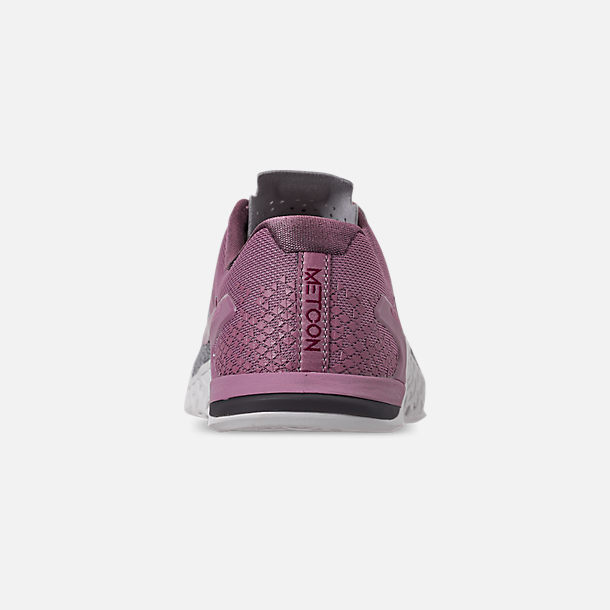 Back view of Women's Nike Metcon 4 XD Training Shoes in Atmosphere Grey/True Berry/Plum Dust