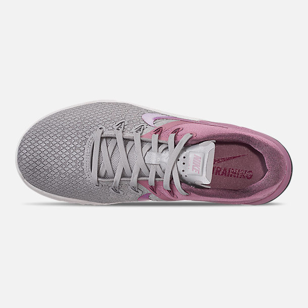 Top view of Women's Nike Metcon 4 XD Training Shoes in Atmosphere Grey/True Berry/Plum Dust