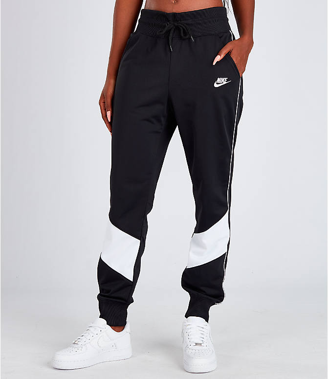 Front view of Women's Nike Sportswear Heritage Track Pants in Black/White