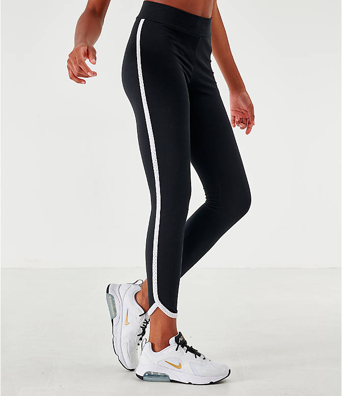 Back Left view of Women's Nike Sportswear Heritage Leggings in Black/White