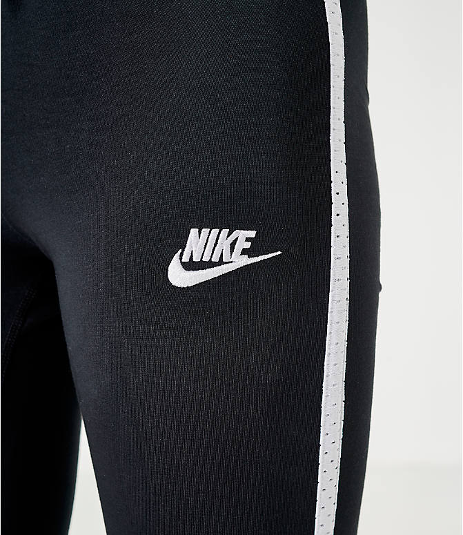 On Model 5 view of Women's Nike Sportswear Heritage Leggings in Black/White