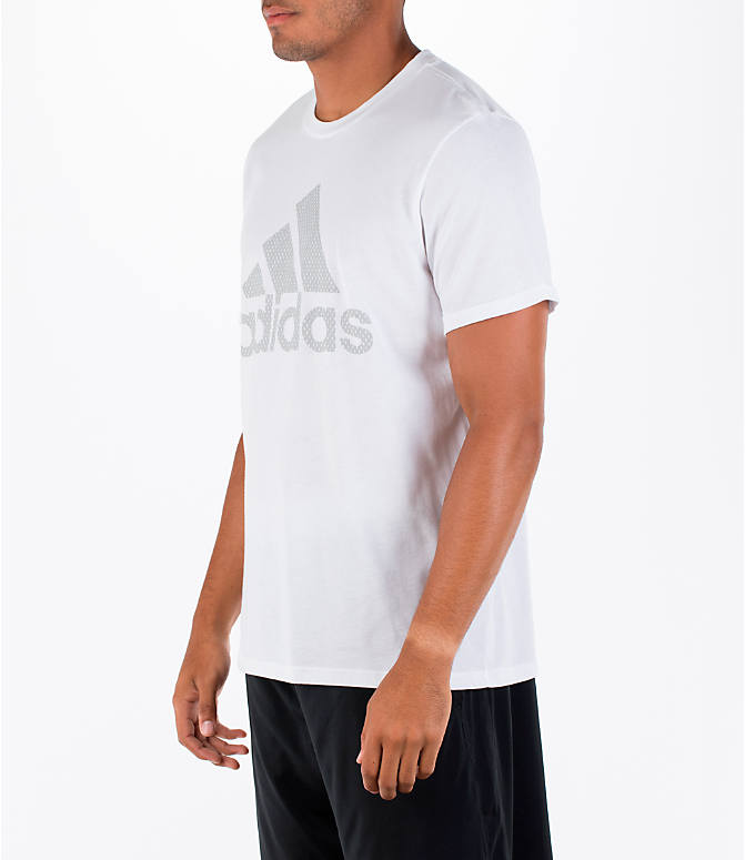 Front Three Quarter view of Men's adidas Badge of Sport Metal T-Shirt in White