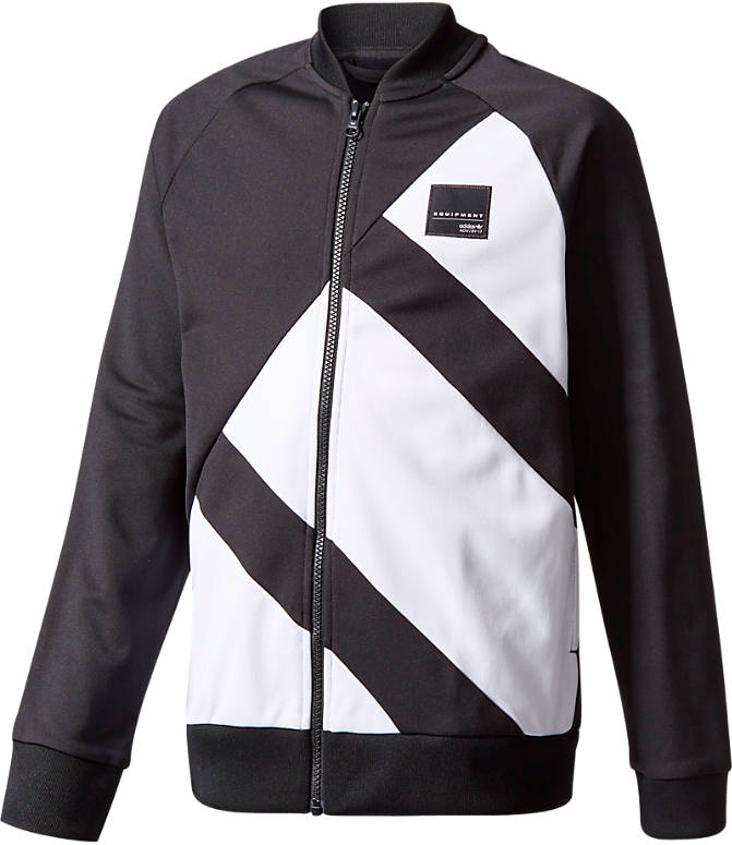 Front view of Boys\u0027 adidas Originals EQT Track Jacket in Black/White