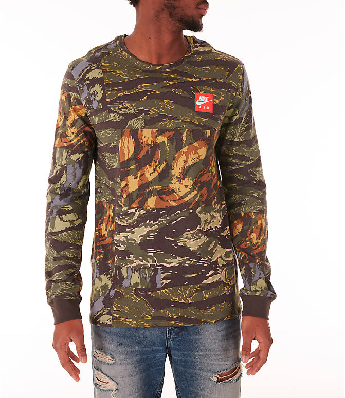 Front view of Men's Nike Sportswear Tiger Allover Print Long Sleeve T-Shirt in Baroque Brown/Habanero Red