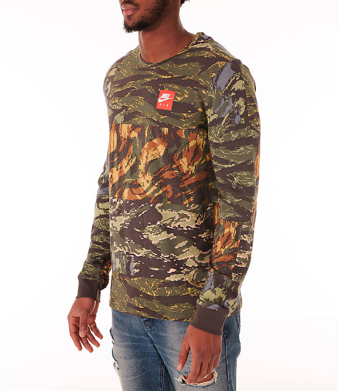 Front Three Quarter view of Men's Nike Sportswear Tiger Allover Print Long Sleeve T-Shirt in Baroque Brown/Habanero Red