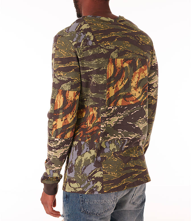 Back Left view of Men's Nike Sportswear Tiger Allover Print Long Sleeve T-Shirt in Baroque Brown/Habanero Red