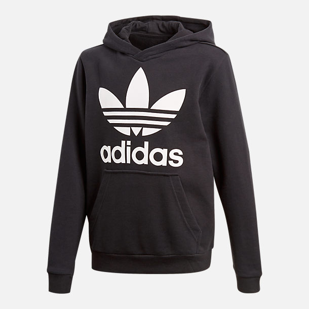 Front view of Kids' adidas Originals Trefoil Hoodie in Black/White