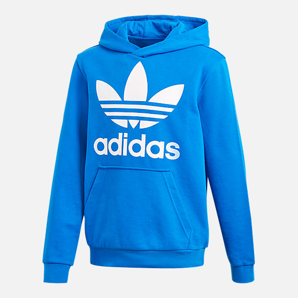 Front view of Kids' adidas Originals Trefoil Hoodie in Blue/White