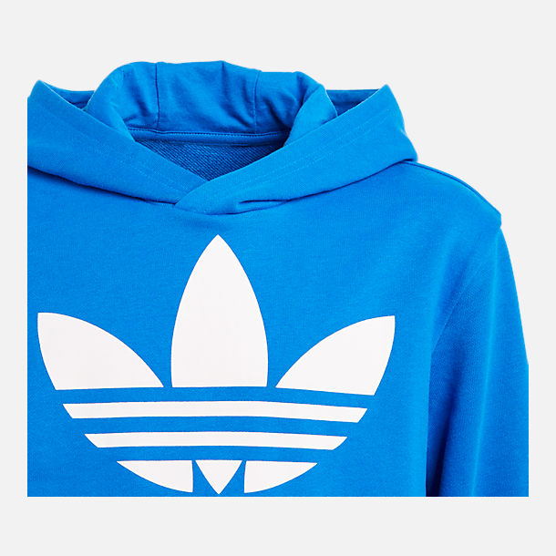 Back view of Kids' adidas Originals Trefoil Hoodie in Blue/White