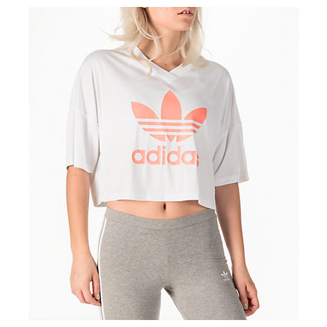 Adidas Originals  WOMEN'S ORIGINALS EQT TREFOIL CROP T-SHIRT, WHITE