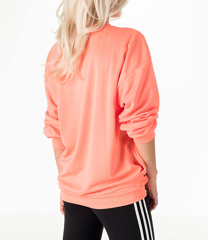 Back Right view of Women's adidas Originals EQT Crew Sweatshirt in Coral