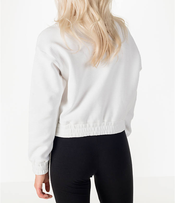 Back Left view of Women's adidas Originals EQT Crew Cropped Sweatshirt in White/Black