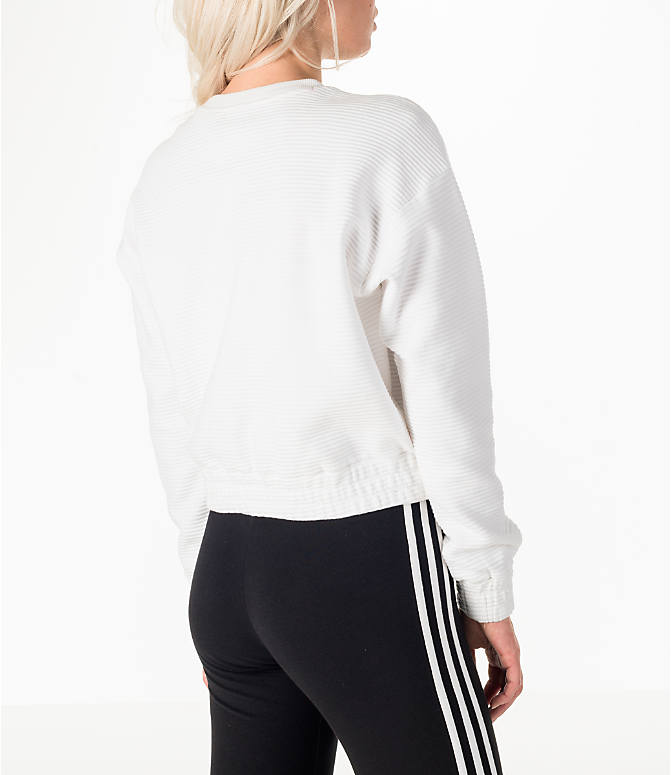 Back Right view of Women's adidas Originals EQT Crew Cropped Sweatshirt in White/Black